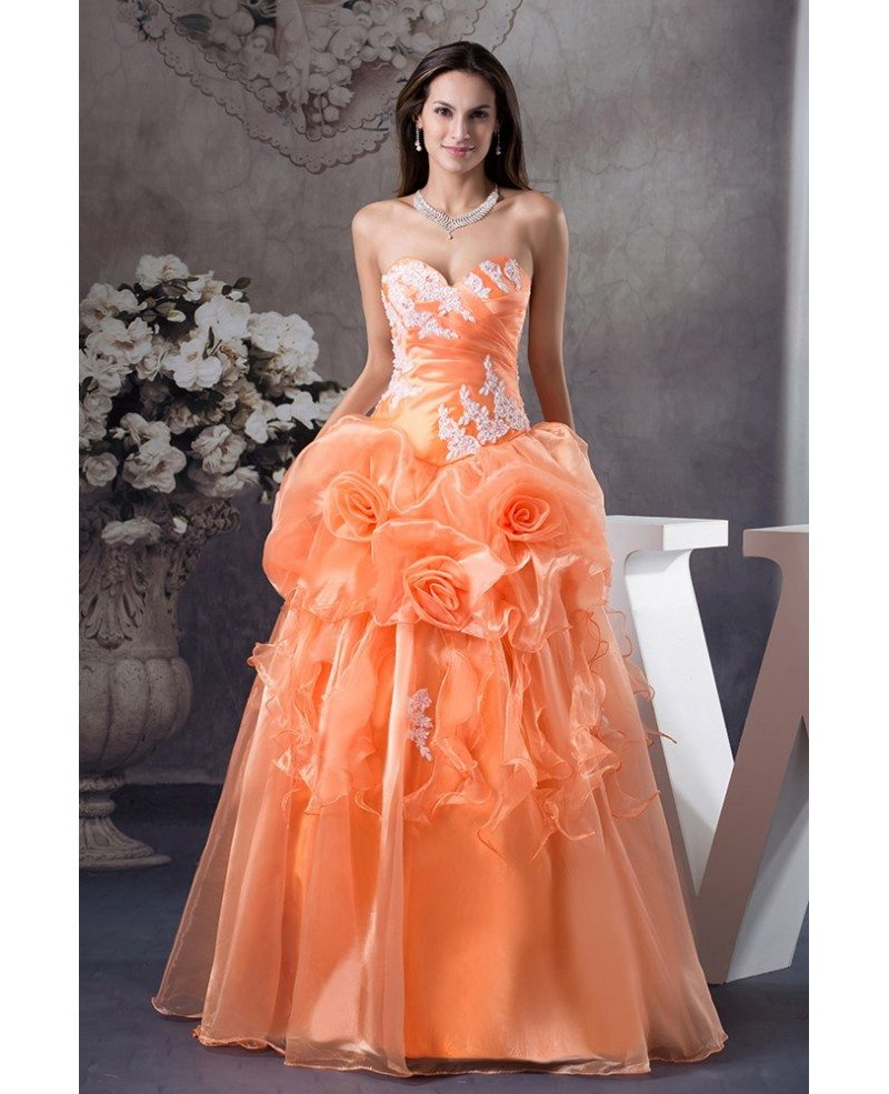 Orange Handmade Flowers Lace Sweetheart