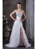 Strapless Silver and White Split Front Formal Dress