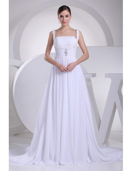 Elegant White Chiffon Beading Ruffled Wedding Gown with Train