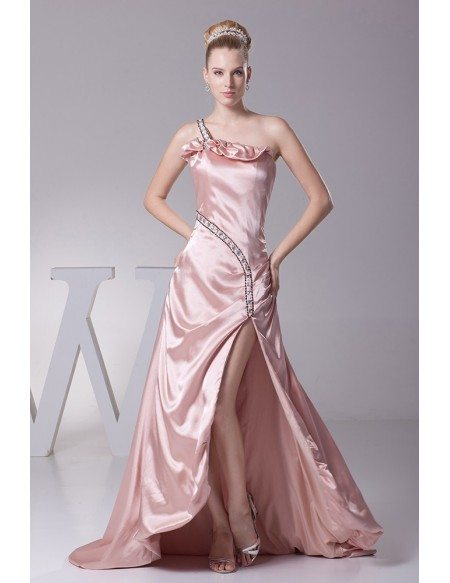 Lovely Pink Split Front Prom Dress with One Shoulder Beaded Strap
