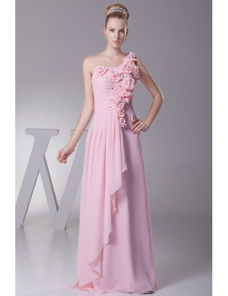 Gorgeous One Shoulder Long Pink Beaded Bridal Party Dress with Handmade Flowers