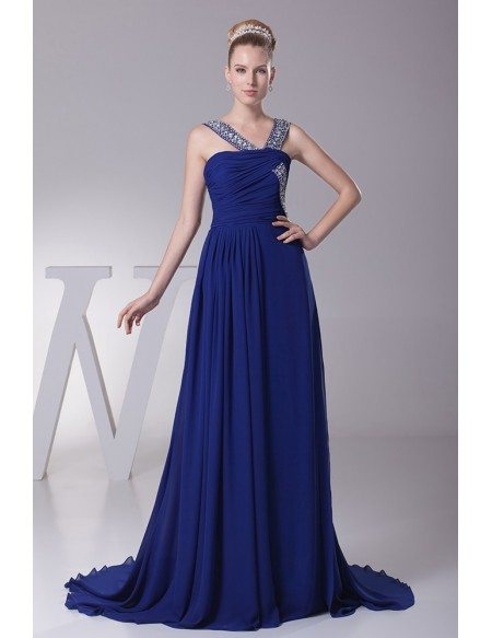 Gorgeous Dark Blue Long Chiffon Ruffled Prom Dress with Beading Straps