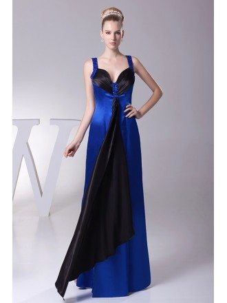 Unique Beaded Straps Long Satin Sweetheart Prom Dress in Royal Blue and Black Color
