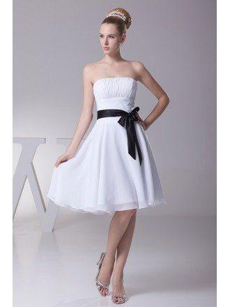 Simple Strapless Little Short Ruffled White Bridesmaid Dress with Black Sash