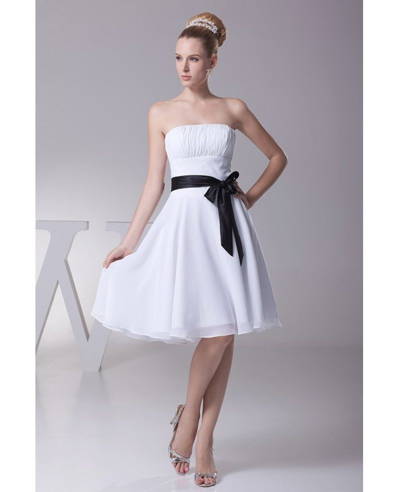 Simple Strapless Little Short Ruffled White Bridesmaid Dress With Black Sash Op4341 99 Gemgrace Com