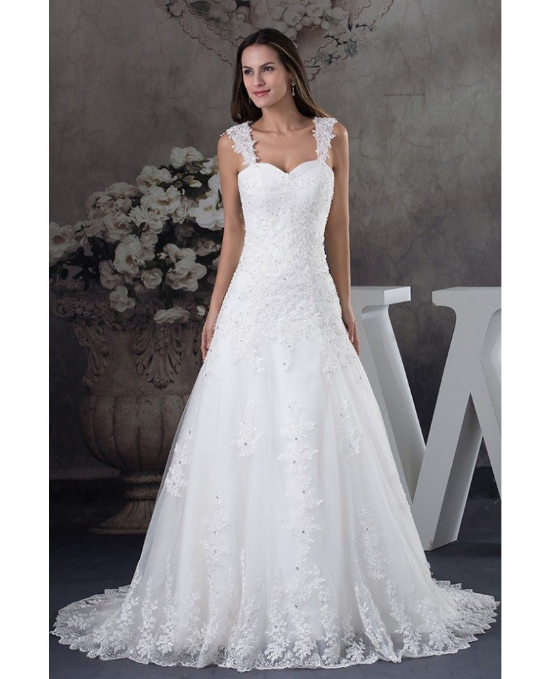 Lace Wedding Gown With Straps: Sequined Lace Tulle Aline Wedding Dress With Straps