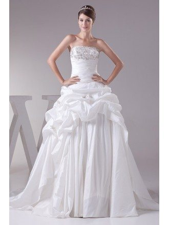 Strapless Ballgown Taffeta Embroidered Wedding Dress with Corset