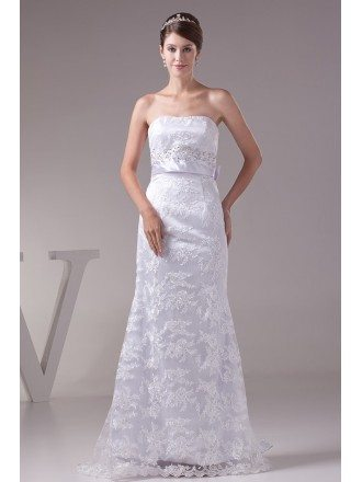 Strapless White Lace Satin Wedding Dress with Long Sash