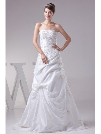 White Embroidered Taffeta Aline Wedding Dress Custom