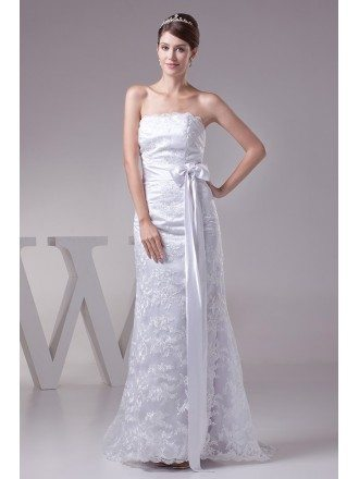 White Lace Tulle Strapless Wedding Dress with Sash