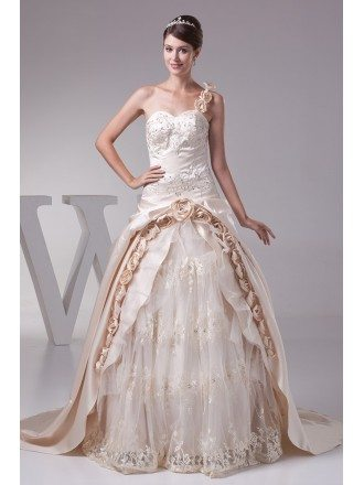Beautiful One Shoulder Flowers Champagne Color Wedding Dress