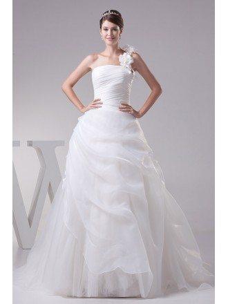 Floral One Strap Pleated Organza Wedding Dress Ballgown