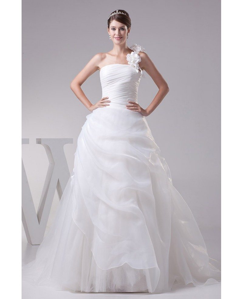 Floral Wedding Dress: Floral One Strap Pleated Organza Wedding Dress Ballgown