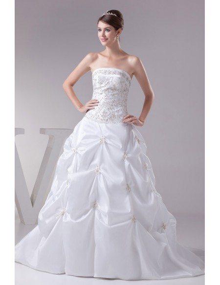 Strapless Embroidered White Taffeta Pickups Wedding Dress Custom