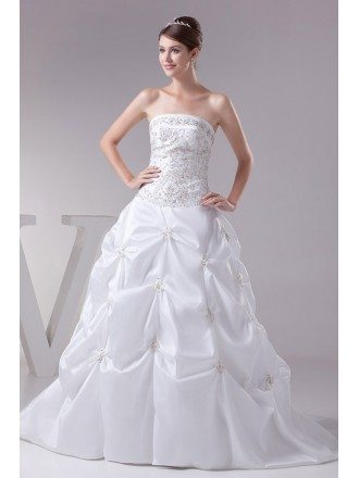 Strapless Embroidered White Taffeta Pickups Wedding Dress Custom