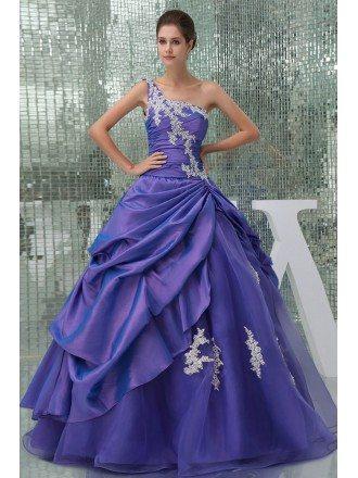 Beautiful Lace One Shoulder Purple Taffeta Color Wedding Gown