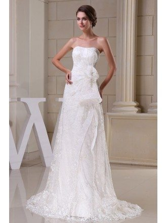 Aline Lace Tulle Wedding Dress with Flower Sash