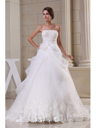 Strapless Unique Lace Organza Wedding Gown with Train