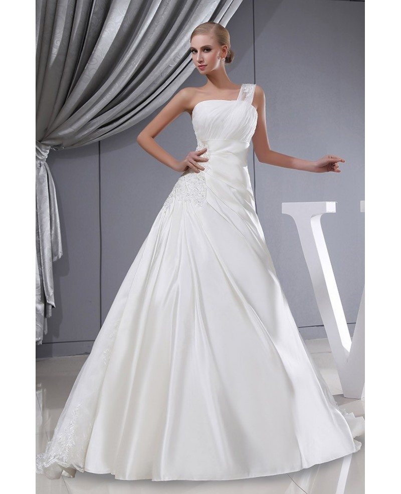Lace Wedding Gown With Straps: One Strap Lace Satin Pleated Wedding Dress With Corset