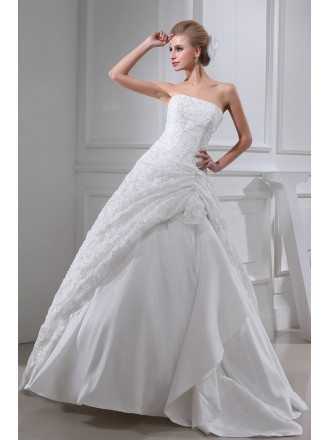 Sequined Lace Strapless Wedding Gown Ballgown