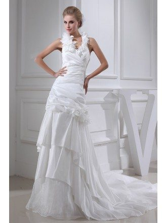Floral Long Halter Pleated Long Train Wedding Gown