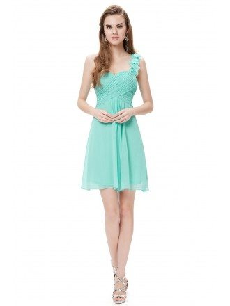 A-line One-shoulder Short Chiffon Pleated Bridesmaid Dress