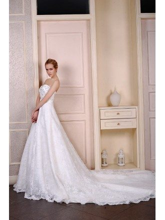 Ball-Gown Sweetheart Cathedral Train Lace Wedding Dress With Beading