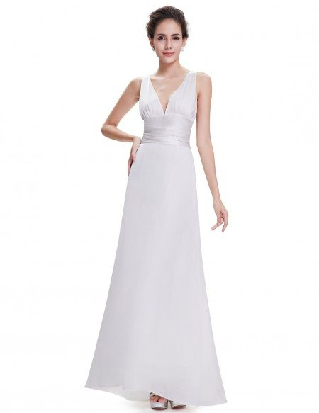 A-line V-neck Chiffon Floor-length Bridesmaid Dress