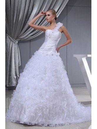 One Shoulder Floral White Custom Wedding Dress
