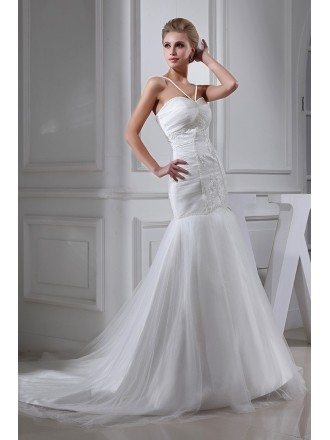 Spaghetti Straps Mermaid Long Tulle Wedding Dress with Train
