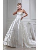 Embroidered Sweetheart Ivory Satin Wedding Gown