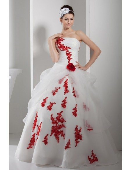 Gorgeous Red And White Lace Organza Wedding Dress Strapless Oph1359 260 9 Gemgrace