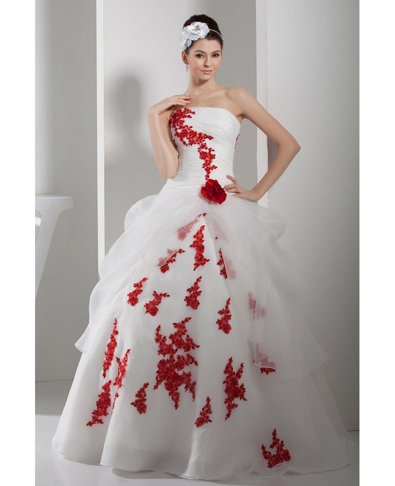 White Wedding Gowns In Chennai: Gorgeous Red And White Lace Organza Wedding Dress