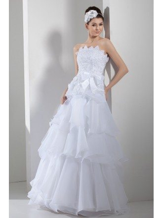 Serrated Neckline White Organza Embroidery Layered Wedding Dress