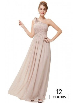 A-line One-shoulder Floor-length Chiffon Bridesmaid Dress With Ruffles