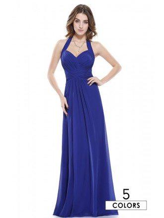 A-line Halter Floor-length Chiffon Bridesmaid Dress With Ruffles