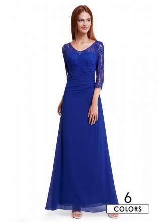 A-line Scoop Neck Floor-length Lace Evening Dress With Half Sleeves