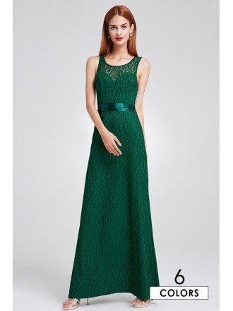 Elegant A-line Scoop Neck Floor-length Lace Evening Dress