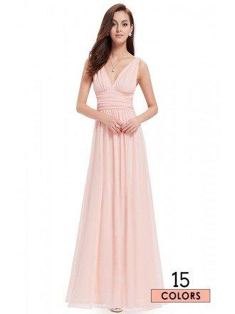 A-line V-neck Chiffon Floor-length Bridesmaid Dress With Ruffles