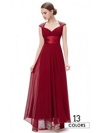 A-line V-neck Chiffon Floor-length Bridesmaid Dress With Cap Sleeves