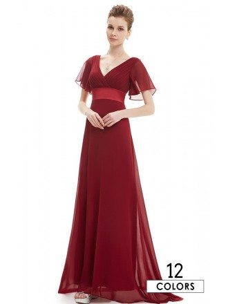Empire V-neck Chiffon Sweep Train Bridesmaid Dress With Sleeves