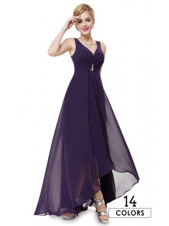 Sexy Empire V-neck Asymmetrical Chiffon Dress With Rhinestones