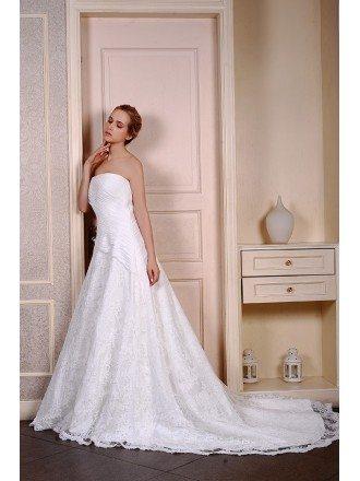 Ball-Gown Strapless Chaple Train Lace Organza Wedding Dress