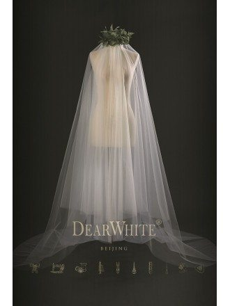 """Frost of Cloud"" Dreamy Designer Long Bridal Wedding Veil Train Length"