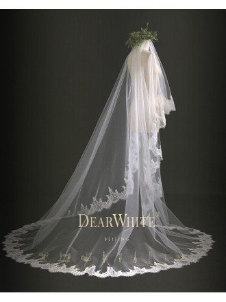 """Bamboo of Cloud"" Designer Vintage Lace Trim Bridal Wedding Veil Train Length"