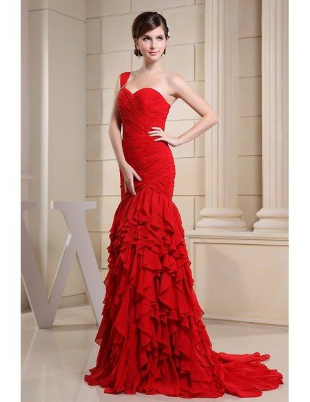 Mermaid Sweetheart Floor-length Chiffon Evening Dress With Cascading Ruffle