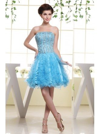 A-line Strapless Short Tulle Prom Dress With Cascading Ruffle