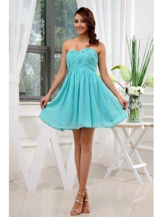 A-line Sweetheart Short Chiffon Bridesmaid Dress