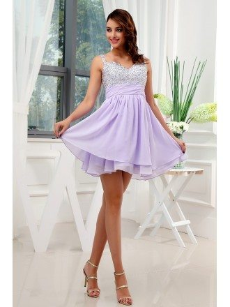 A-line Sweetheart Short Chiffon Homecoming Dress With Beading