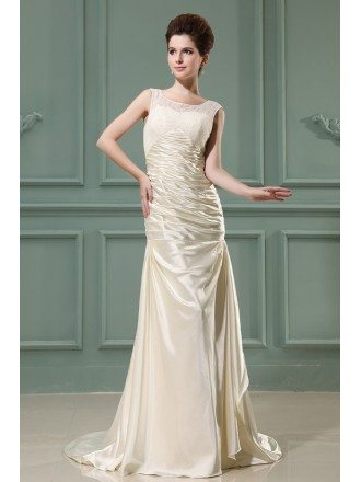 Sheath Scoop Neck Sweep Train Satin Evening Dress With Lace